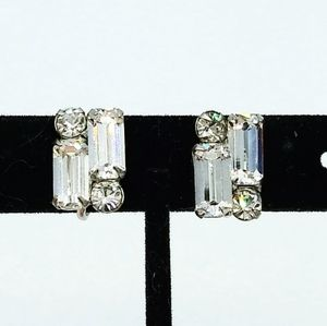 Vintage Icy Crystal Baguettes Rhinestone Earrings